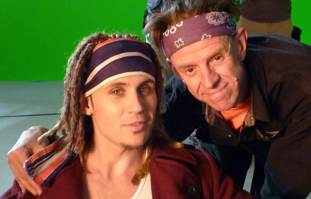 Alex with director Alex Cox in the 2009 comedy, Repo Chick