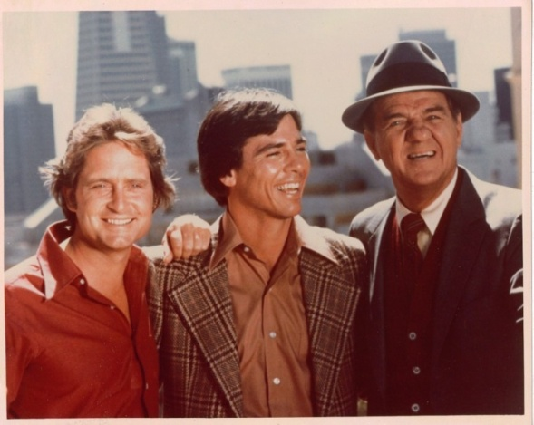 Richard Hatch with Michael Douglas (left) and Karl Malden (right) in The Streets of San Francisco (1976)