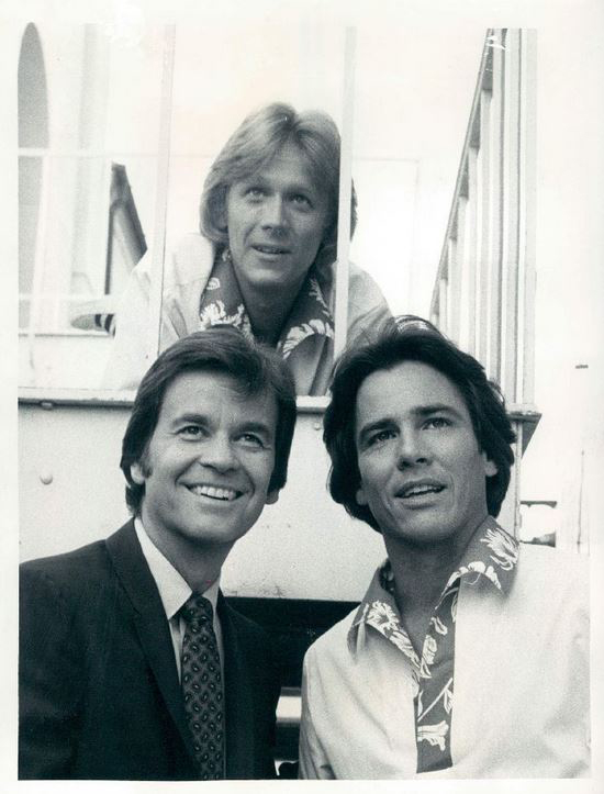 "Hatch with Dick Clark (left) and Bruce Davison as Dean Torrence in ""Dead Man's Curve"" (1978). Photo Credit: Jan & Dean / Jan Berry & Dean Torrence https://www.facebook.com/JanBerryDeanTorrence"