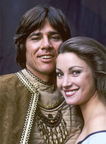 Hatch with Jane Seymour (Serina) in 1978's Battlestar Galactica.