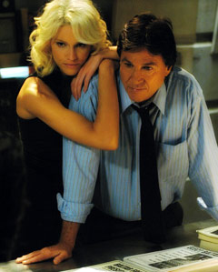 Hatch with co-star Tricia Helfer in Battlestar Galatica, re-imagined series (2004-2009).